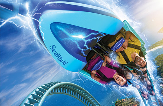 people riding electric eel coaster