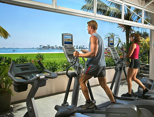 Hotel and Spa Guest exercising at the Catamaran Resort and Spa Indoor outdoor fitness center