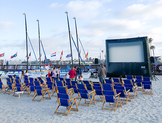 Movie screen set up on Mission Bay