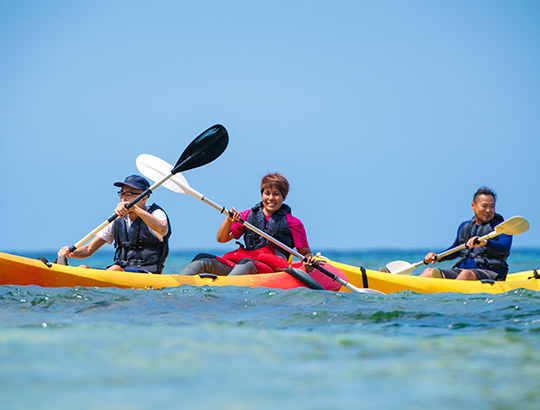 Group of adults kayaking