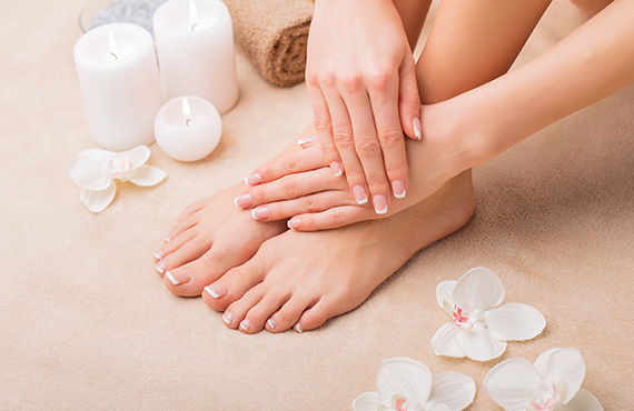 woman toes and hands fully manicured