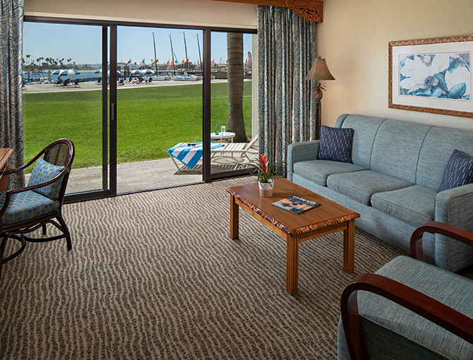 Bay Front Suite Living area overlooking Mission Bay
