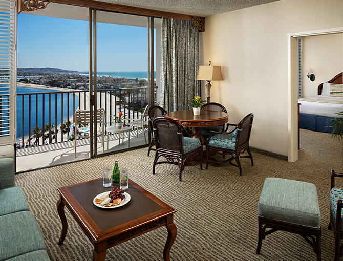 Interior of a Bay View Suite overlooking Mission Bay