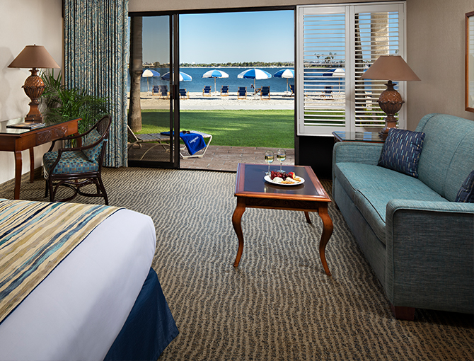 Interior Bayfront room looking out to Mission Bay