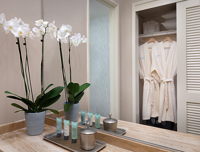 Bathroom dressing area with robes