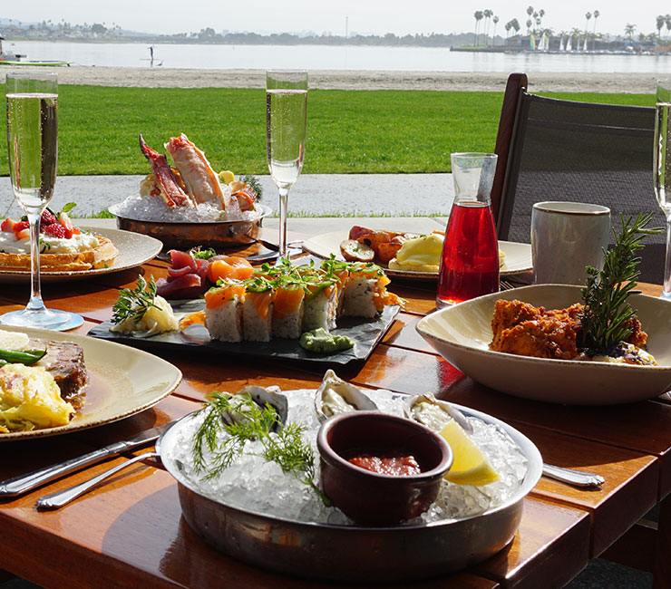 Brunch at Oceana Coastal Kitchen on the shores of Mission Bay in San Diego, CA
