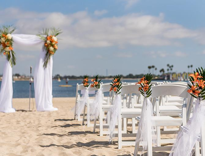 Beach wedding ceremony on Mission Bay, San Diego