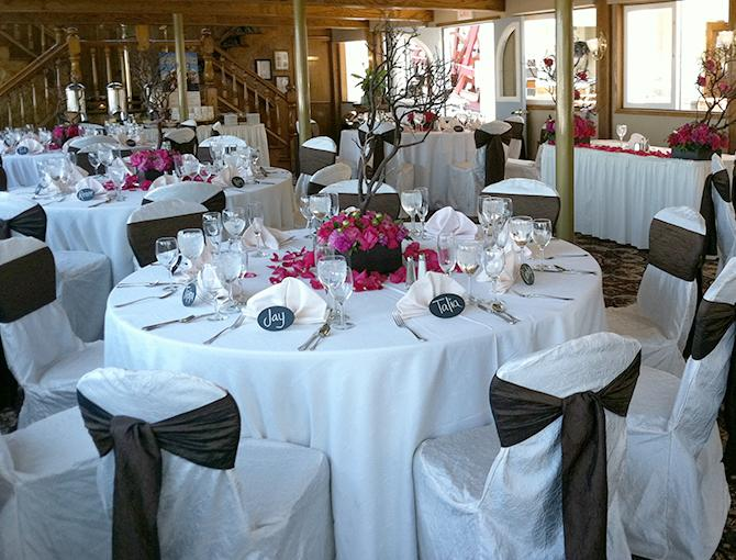 Interior of the Bahia Belle set up for wedding reception